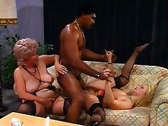 German, Granny, Group Sex, Stockings