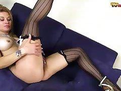 Big Boobs, Blonde, Masturbation, Pantyhose, Stockings