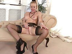 British, Masturbation, Stockings, Black